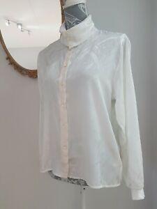 Vintage St Bernard 80s White Satin Blouse Button Roll Collar embossed Size 12
