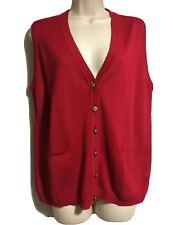 COTSWOLD Lane Borgosesia Merino Wool Knit Gilet Cranberry Red Vest UK 14/16 L