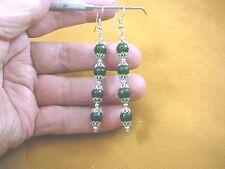(ee405-4) 8 mm Green Jade Canada gemstone 4 bead + silver caps dangle earrings