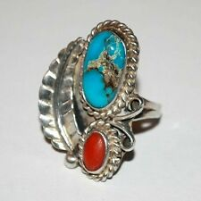 HANDMADE TURQUOISE AND CORAL STERLING SILVER LADIES RING Size 5 3/4