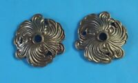 1 paire Ancien Ornement Architecture Bronze Fleur Rosace Rinceaux Vintage