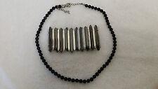 "Black Beaded Necklace 7½"" with Metal Elasticated Bracelet costume jewellery"