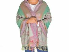 "Green Paisley Kashmir Wool Shawl Fashion Scarf Evening Dress Wrap Stole 78"""