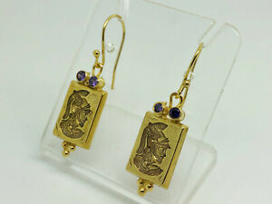Studio Crafted Gold on Sterling Silver Roman Centurion Seal Drop Earrings