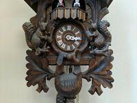 Vtg Hunter Cuckoo Clock German Black Forest hand Carved, original box, receipt!!