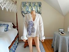 Just Cavalli White Sheer Cotton Top Embellished Neck Leather Trim Sleeves Sz 40