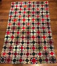 "Handmade Christmas Patchwork 65""x43"" Vintage Holiday Red Green Polyester Granny"