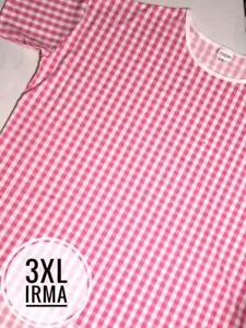 NWT Lularoe Size 3XL Stretchy Pink and White Plaid Women's Irma Shirt Top