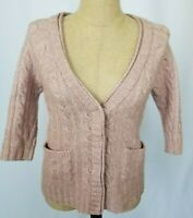 St. John Cardigan Sweater Size P (0-2) Blush Pink 3/4 Sleeve Snap Up Cable Knit