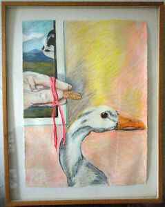 """Abstract Surreal Modern Bryn Manley Signed Framed 1985 Pastel on Paper 22"""" x 30"""""""