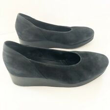 Arche Black Suede Leather Wedges Shoes Size 36