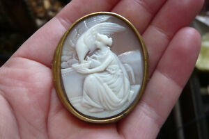 Victorian Carved Hebe the Goddess of Youth Shell Cameo and Gilt Metal Brooch