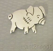 vtg MEXICO 925 STERLING SILVER PIG PIN cute etched porker piglet 13g