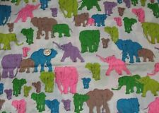Vtg Fabric Multi-Color Elephants Screen Print Chrisali Sewing Bright Quilting 1+