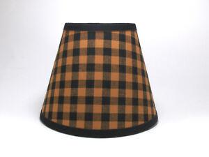 Country Primitive Black Orange Medium Check Homespun Fabric Lampshade Lamp Shade