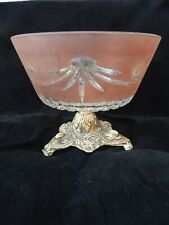 Vintage Cranberry Footed Etched Glass Compote Hollywood Regency
