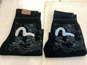 New HEIFETGENS EVISU Men's Embroidered KOI FISHING *BLUE DENIM Shorts SZ: 32-44