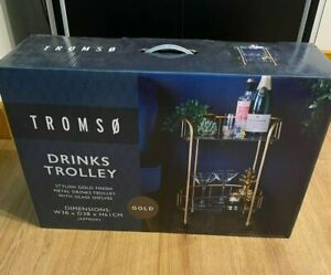✅Tromso Gold Drinks Trolley Glass Shelves Mini Bar Cocktail Table Drink Table✅