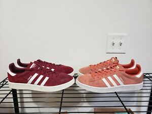 Lot of 2 Pairs Men's Adidas Campus Maroon and Salmon Suede Sneakers Size 13