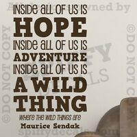 Where The Wild Things Are Hope Fear Adventure Quote Vinyl Wall Decal Sticker