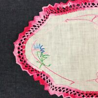 Vintage Crochet Lace Embroidered Linen Doily Pink Cottage Shabby Chic Farmhouse