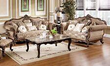 2pc Antique Sofa Set Luxury Formal Living Room Hazelnut w/Cherry Chenille Fabric