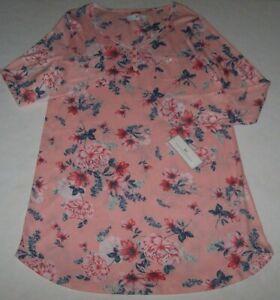 """NWT Karen Neuburger PINK/BLUE Floral Soft Knit 35"""" Nightgown M Soft Jersey Knit"""