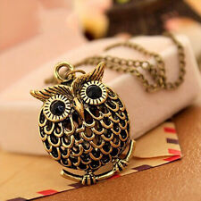 Fashion Women Lady Owl Crystal Bronze Retro Long Chain Pendant Necklace Jewelry