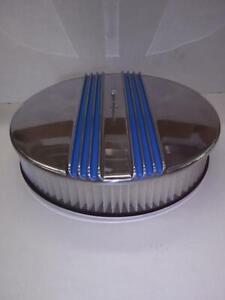 BILLET ALUMINUM 14'' X 3'' BLUE CENTER FINN  AIR CLEANER