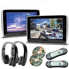 "2PCS HDMI Slim 10"" Car Pillow Headrest Active Monitor DVD Player Game IR Headset"