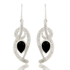 Black Onyx And White Topaz Dangle Earrings 925 Silver Gemstone Jewelry