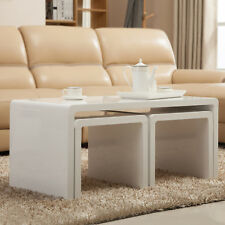 High Gloss White Set of 3 Coffee Table Side End Table Storage Space Living Room