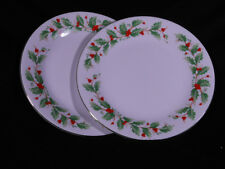 "2 China Pearl Noel Fine China Christmas Holly & Berries Salad Plates-7-1/2"" ,EUC"