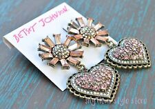Betsey Johnson Earrings Pink Baguette Stone Flower and Pave Heart Drop New