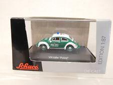 Esf-04615 SCHUCO h0 VW Beetle Police, très bon état, avec emballage d'origine