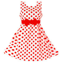 Polka Dot Bow Kid Girl Dress Casual Wear Birthday Party Dresses Children Clothes