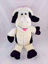 "Animal Fair Christmas Cow Bull Plush Black & White Santa Hat 15"" Stuffed Animal"