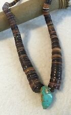 """Vintage Old Pawn Navajo Silver Genuine Turquoise Heishi Bead Necklace 14.5"""""""