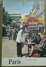 AFFICHE ANCIENNE PHOTO LES CHAMPS ELYSEES PARIS