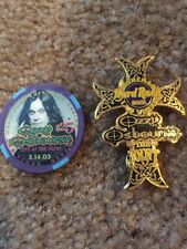 ozzy osbourne hard rock hotel$25 poker chip and hard rock joint pin from 3-14-03
