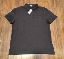 Men's Celvin Klein Cotton Short Sleeve Shirt with Zip Chest Pocket Black Size L