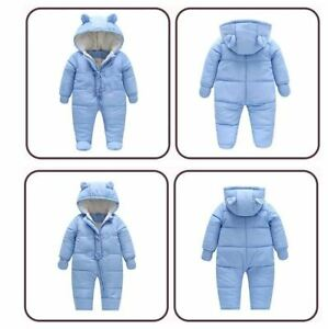 Baby Ski Snow Suit All-In-One Thick Fleece Water Repellant Blue Snowsuit Size 0