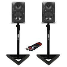 2x Mackie MR824 20.3cm MONITEURS STUDIO AVEC Gorilla gsm-100 Stands & Câble