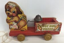 HOT DOG WAGON FISHER PRICE #445 WOOD VINTAGE PULL TOY  1940'S