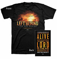 Left Behind Logo Kerusso Mens Christian T-Shirt - Scripture 1 Thess. 4:17 New