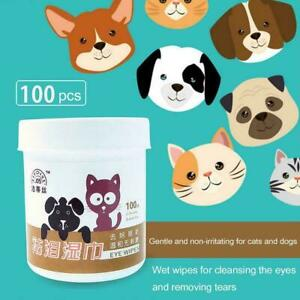 100pcs / set Pet Eye Wet Wipes Cleaning Grooming Tear Wipes Remover Soft X3G8
