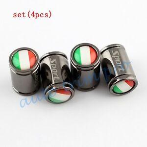Titanium Car Air Dust Wheel Tyre Valve Stem Cap Cover Italy IT Flag Badge Trim