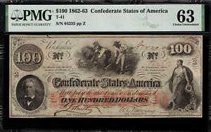 T-41 / PF-6 $100 1862 Confederate Currency CSA - Civil War - Graded PMG 63