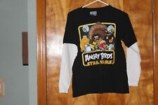 Angry Birds Star Wars Boys Long Sleeve T-Shirt Size L Black W/White Sleeves
