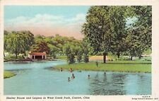 CANTON OH 1937 Shelter House & Lagoon in West Creek Park VINTAGE OHIO GEM+++
